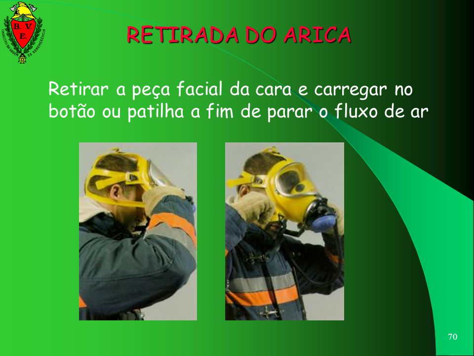 RETIRADA DO ARICA Retirar a peça facial da cara e carregar no botão ou patilha a fim de parar o fluxo de ar.