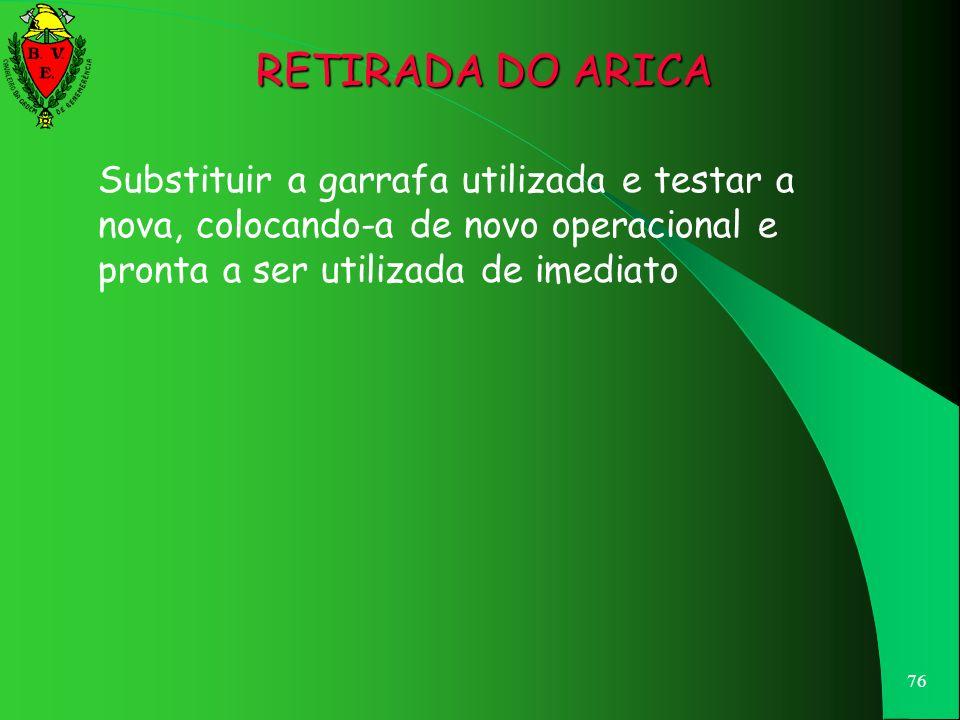RETIRADA DO ARICA Substituir a garrafa utilizada e testar a nova, colocando-a de novo operacional e pronta a ser utilizada de imediato.