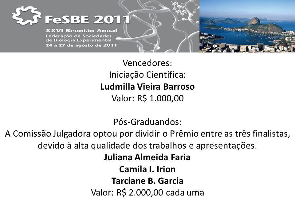 Iniciação Científica: Ludmilla Vieira Barroso Valor: R$ 1.000,00