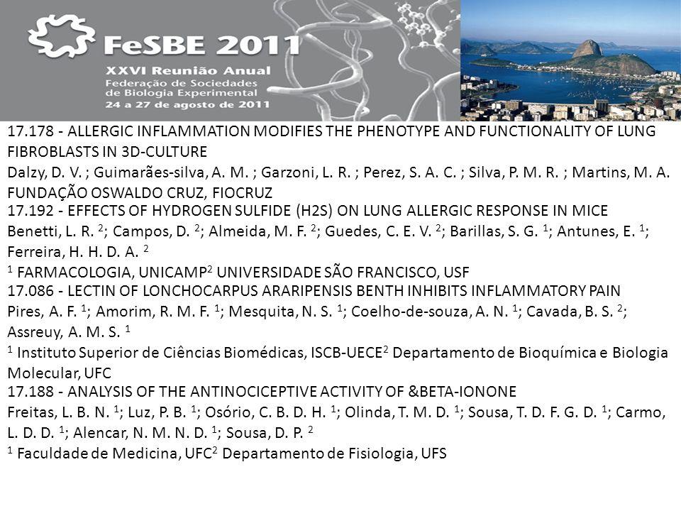 17.178 - ALLERGIC INFLAMMATION MODIFIES THE PHENOTYPE AND FUNCTIONALITY OF LUNG FIBROBLASTS IN 3D-CULTURE Dalzy, D. V. ; Guimarães-silva, A. M. ; Garzoni, L. R. ; Perez, S. A. C. ; Silva, P. M. R. ; Martins, M. A. FUNDAÇÃO OSWALDO CRUZ, FIOCRUZ