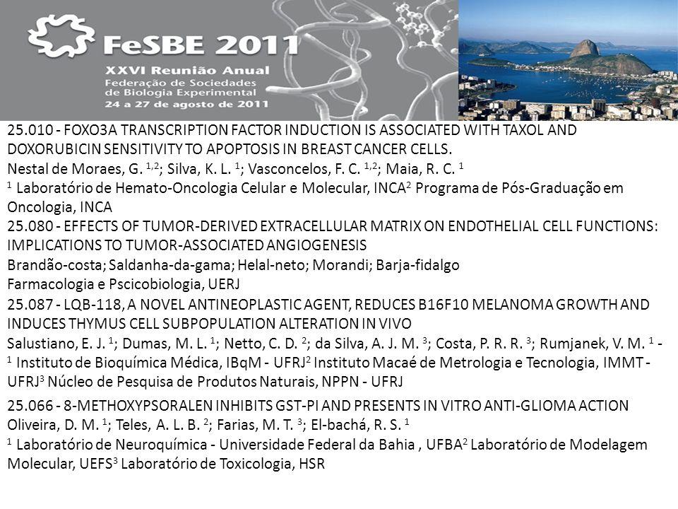 25.010 - FOXO3A TRANSCRIPTION FACTOR INDUCTION IS ASSOCIATED WITH TAXOL AND DOXORUBICIN SENSITIVITY TO APOPTOSIS IN BREAST CANCER CELLS. Nestal de Moraes, G. 1,2; Silva, K. L. 1; Vasconcelos, F. C. 1,2; Maia, R. C. 1 1 Laboratório de Hemato-Oncologia Celular e Molecular, INCA2 Programa de Pós-Graduação em Oncologia, INCA