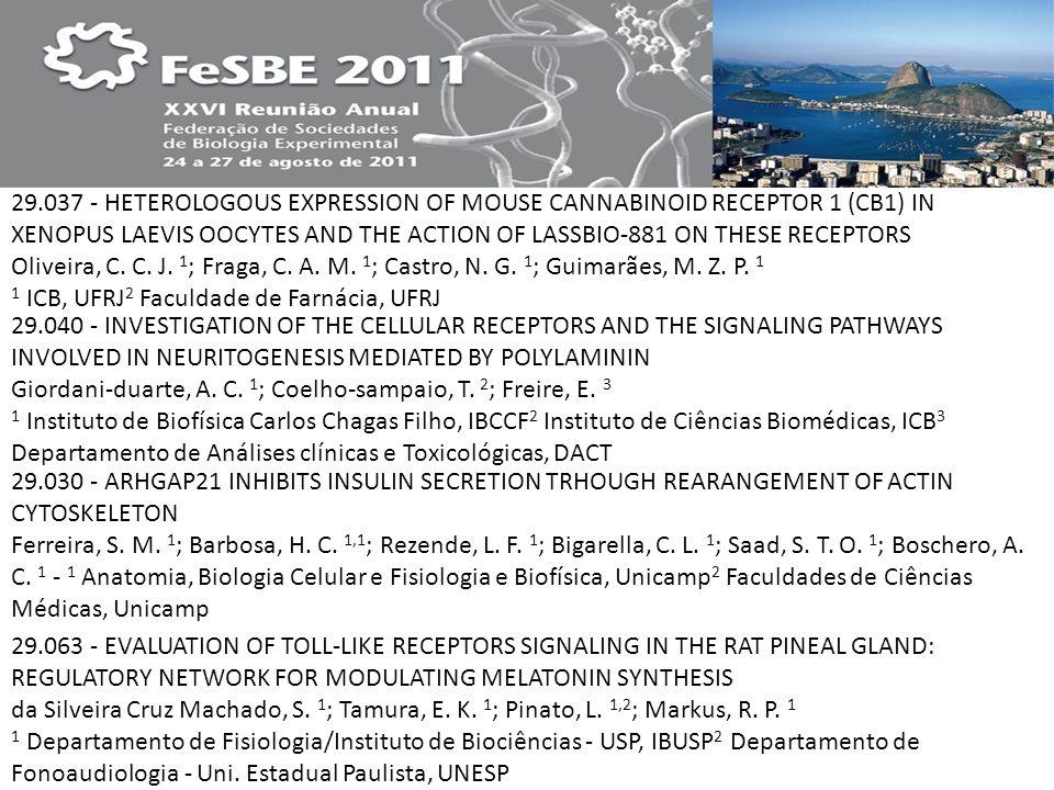 29.037 - HETEROLOGOUS EXPRESSION OF MOUSE CANNABINOID RECEPTOR 1 (CB1) IN XENOPUS LAEVIS OOCYTES AND THE ACTION OF LASSBIO-881 ON THESE RECEPTORS Oliveira, C. C. J. 1; Fraga, C. A. M. 1; Castro, N. G. 1; Guimarães, M. Z. P. 1 1 ICB, UFRJ2 Faculdade de Farnácia, UFRJ