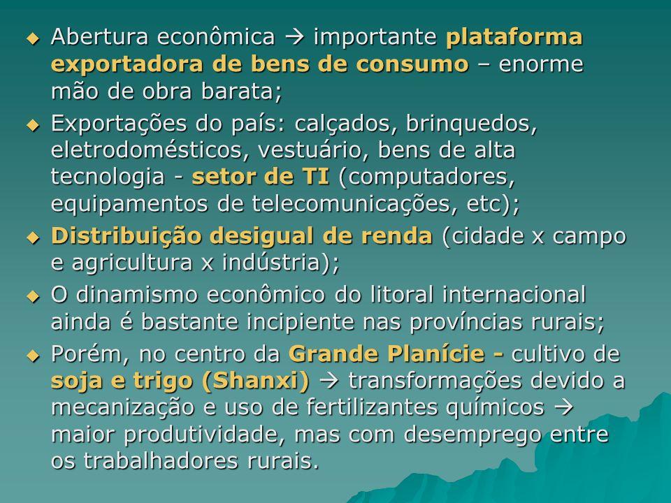 Abertura econômica  importante plataforma exportadora de bens de consumo – enorme mão de obra barata;
