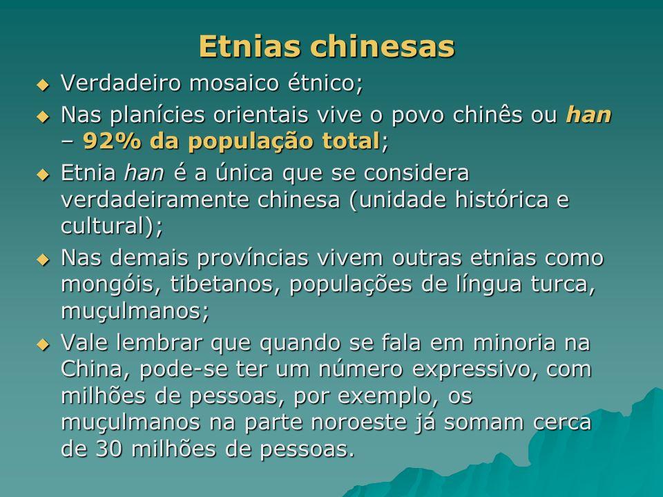 Etnias chinesas Verdadeiro mosaico étnico;