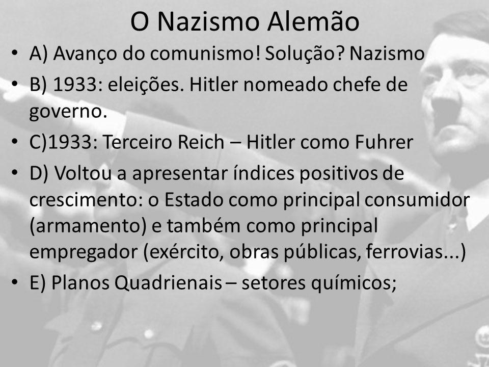 O Nazismo Alemão A) Avanço do comunismo! Solução Nazismo