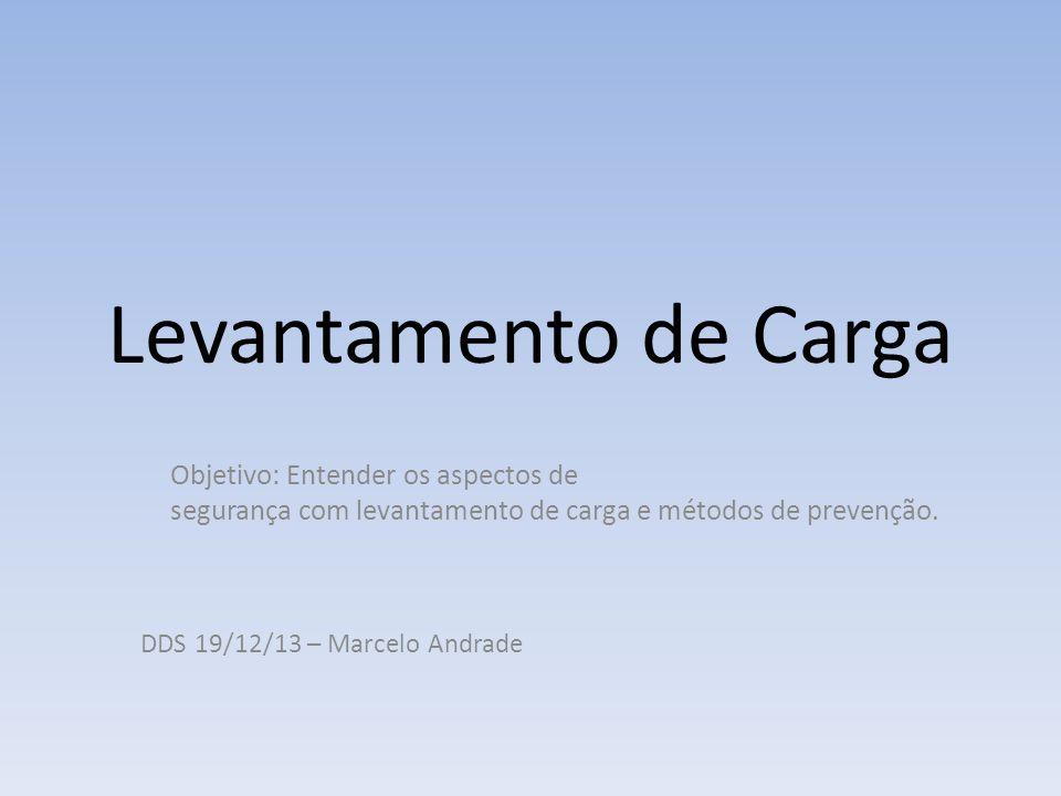 Levantamento de Carga Objetivo: Entender os aspectos de segurança com levantamento de carga e métodos de prevenção.