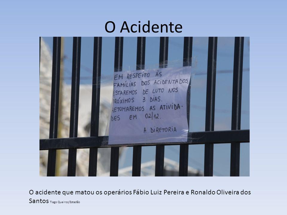 O Acidente O acidente que matou os operários Fábio Luiz Pereira e Ronaldo Oliveira dos Santos Tiago Queiroz/Estadão.