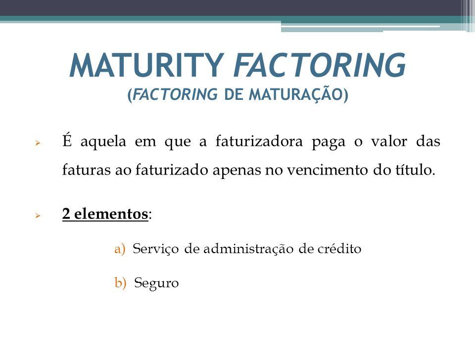 MATURITY FACTORING (FACTORING DE MATURAÇÃO)
