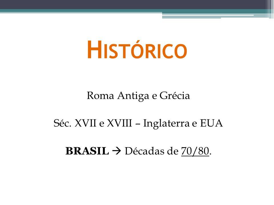 Histórico Roma Antiga e Grécia Séc. XVII e XVIII – Inglaterra e EUA BRASIL  Décadas de 70/80.