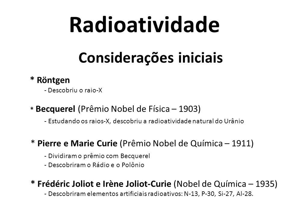 Radioatividade Considerações iniciais * Röntgen