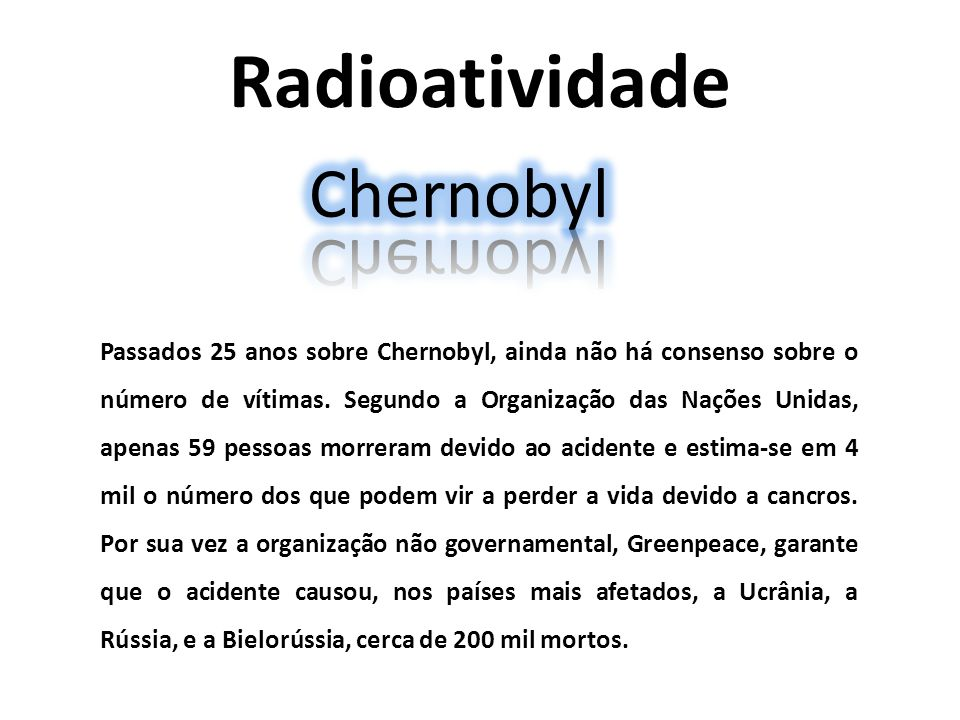 Radioatividade Chernobyl