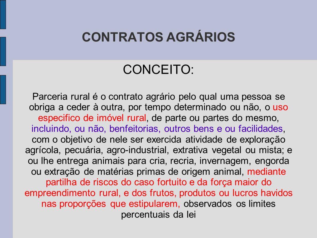 CONTRATOS AGRÁRIOS CONCEITO: