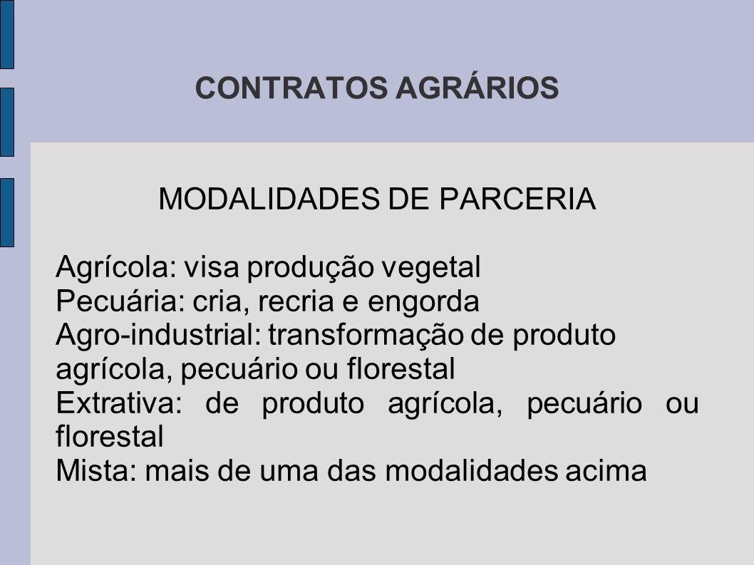 MODALIDADES DE PARCERIA
