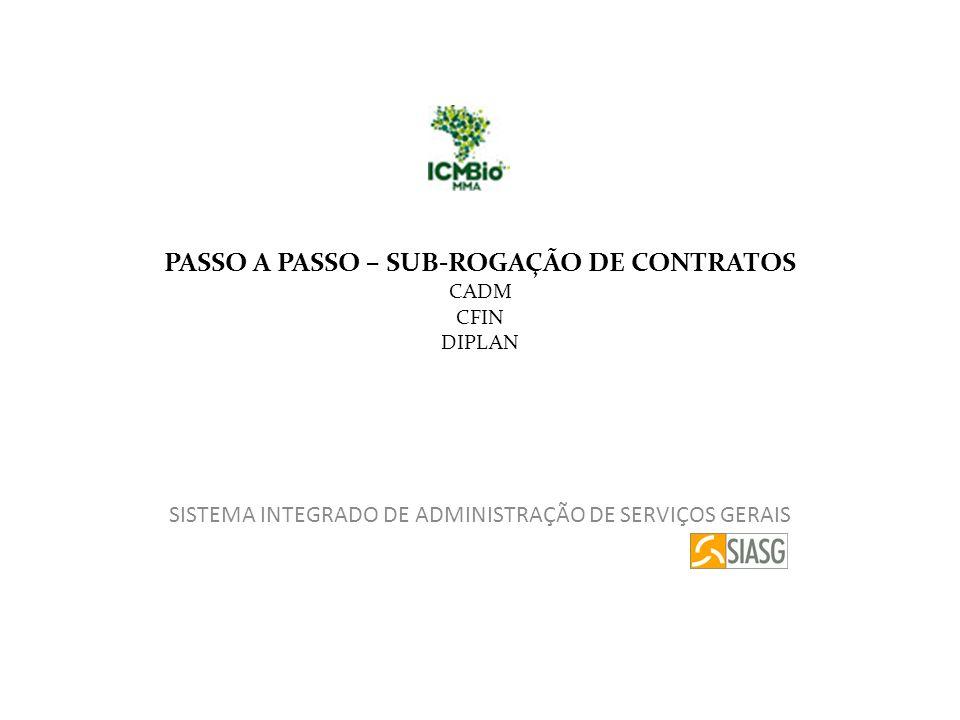 PASSO A PASSO – SUB-ROGAÇÃO DE CONTRATOS CADM CFIN DIPLAN