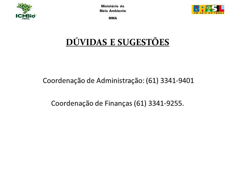 DÚVIDAS E SUGESTÕES Coordenação de Administração: (61) 3341-9401