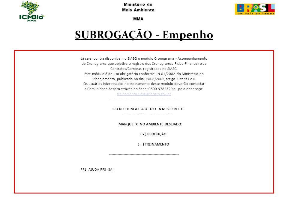 SUBROGAÇÃO - Empenho Ministério do Meio Ambiente MMA