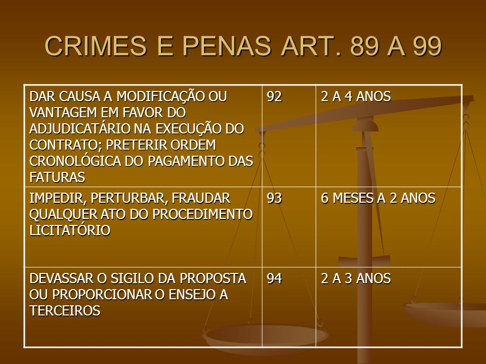 CRIMES E PENAS ART. 89 A 99
