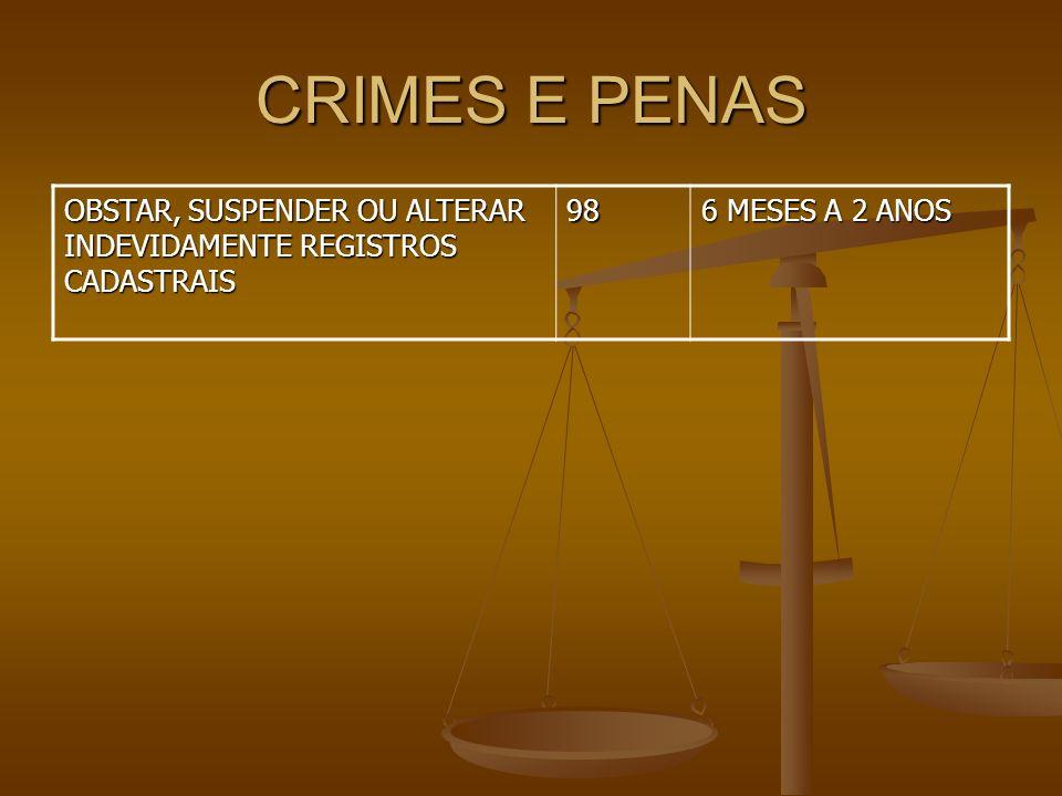 CRIMES E PENAS OBSTAR, SUSPENDER OU ALTERAR INDEVIDAMENTE REGISTROS CADASTRAIS 98 6 MESES A 2 ANOS