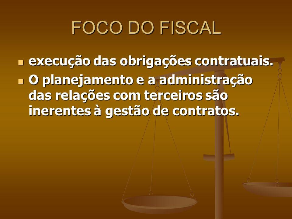 FOCO DO FISCAL execução das obrigações contratuais.