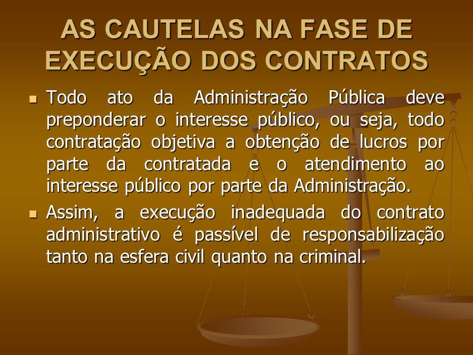 AS CAUTELAS NA FASE DE EXECUÇÃO DOS CONTRATOS