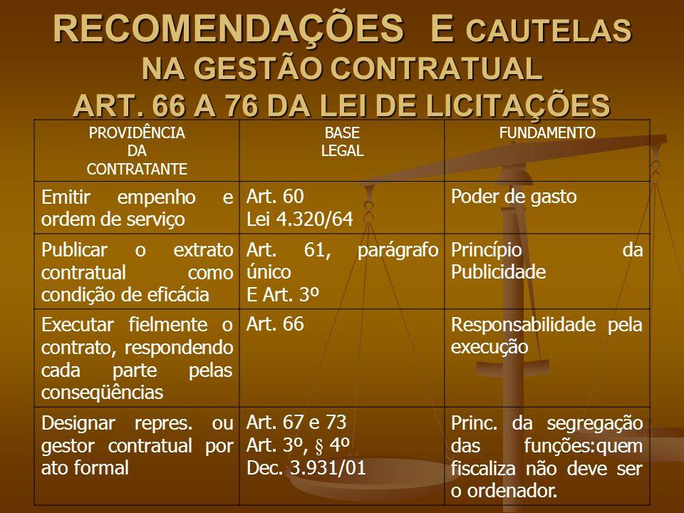 RECOMENDAÇÕES E CAUTELAS NA GESTÃO CONTRATUAL ART