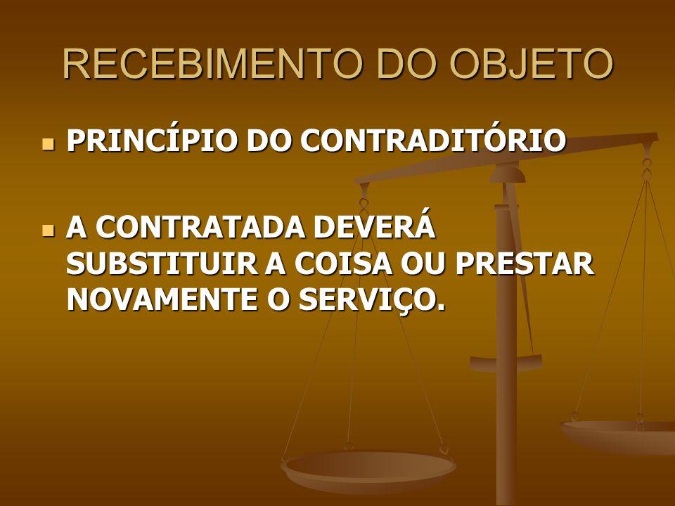 RECEBIMENTO DO OBJETO PRINCÍPIO DO CONTRADITÓRIO