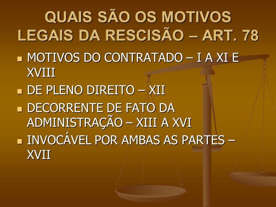 QUAIS SÃO OS MOTIVOS LEGAIS DA RESCISÃO – ART. 78