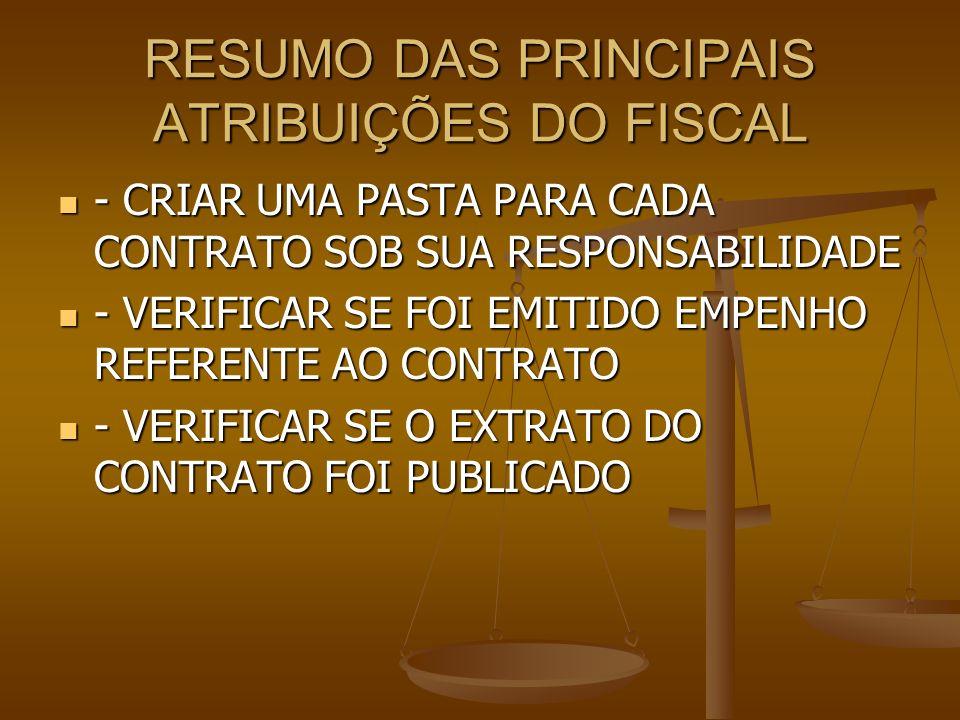 RESUMO DAS PRINCIPAIS ATRIBUIÇÕES DO FISCAL