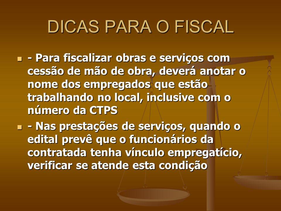 DICAS PARA O FISCAL