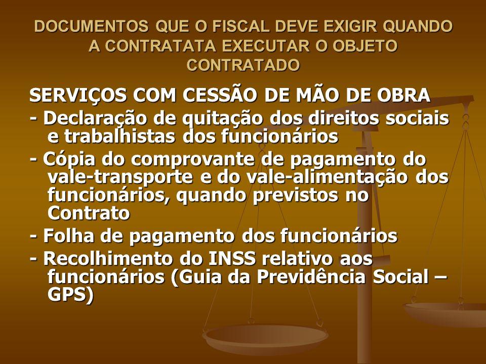 SERVIÇOS COM CESSÃO DE MÃO DE OBRA