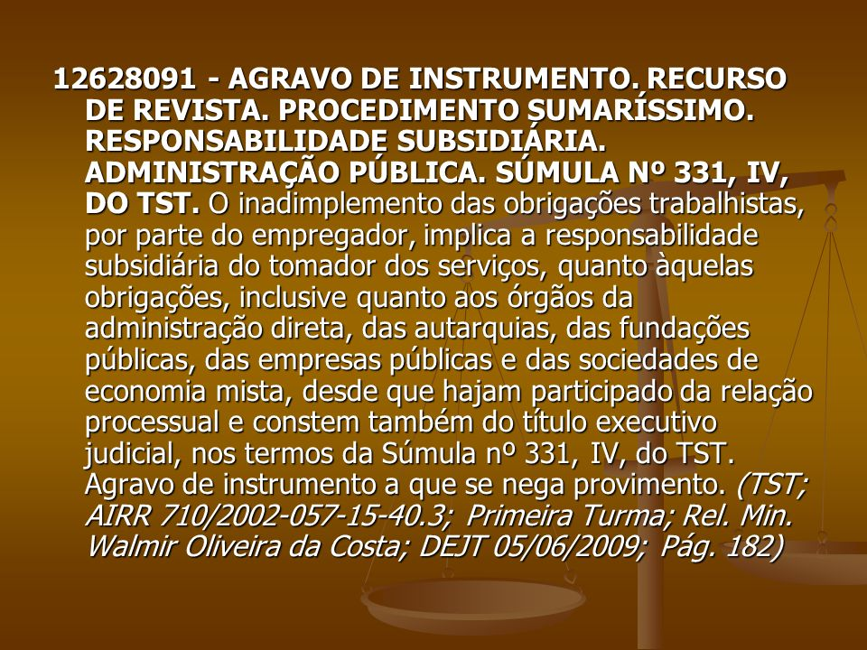 12628091 - AGRAVO DE INSTRUMENTO. RECURSO DE REVISTA