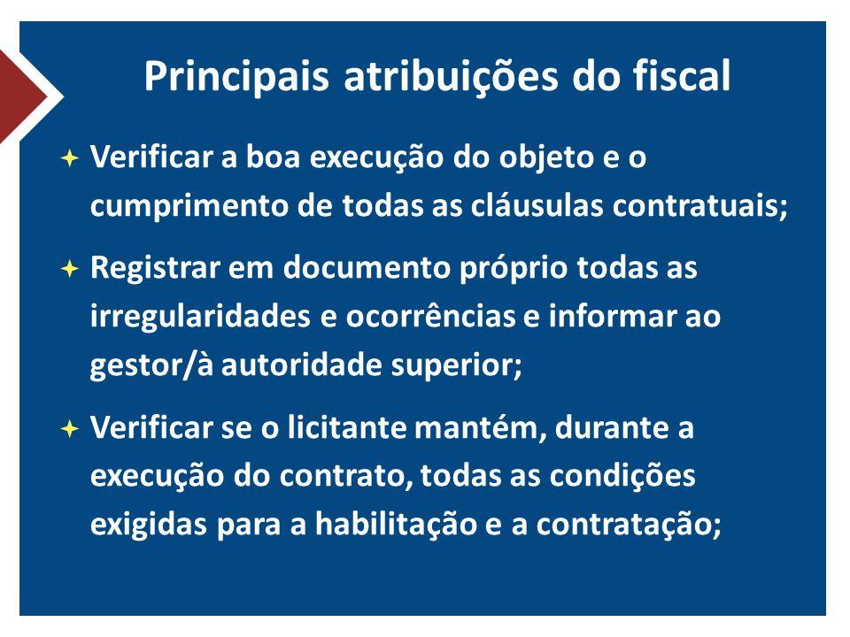 Principais atribuições do fiscal