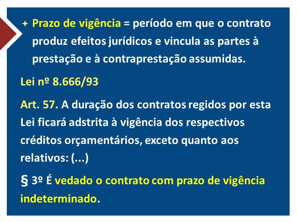 Prazo de vigência = período em que o contrato produz efeitos jurídicos e vincula as partes à prestação e à contraprestação assumidas.