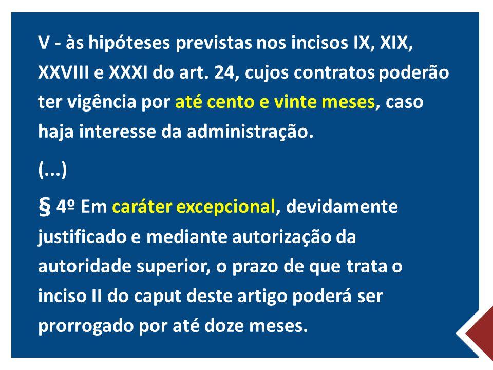 V - às hipóteses previstas nos incisos IX, XIX, XXVIII e XXXI do art