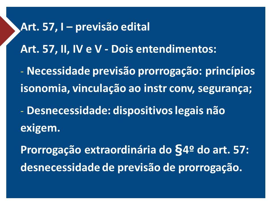 Art. 57, I – previsão edital Art. 57, II, IV e V - Dois entendimentos:
