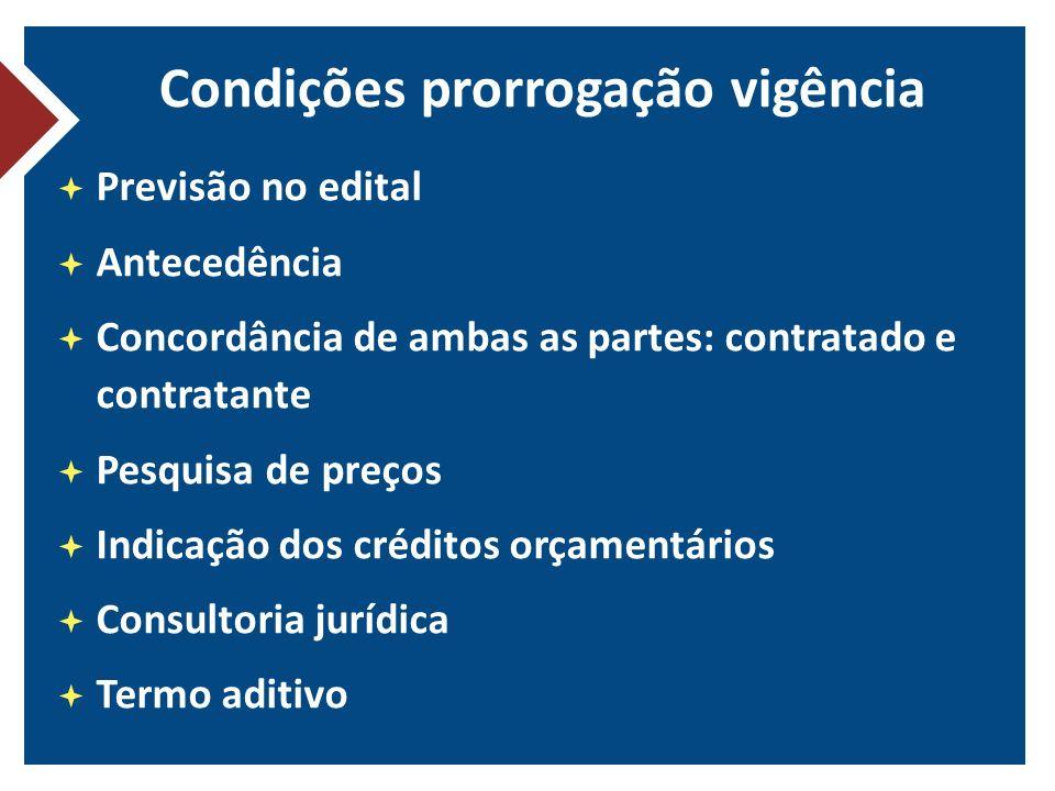Condições prorrogação vigência