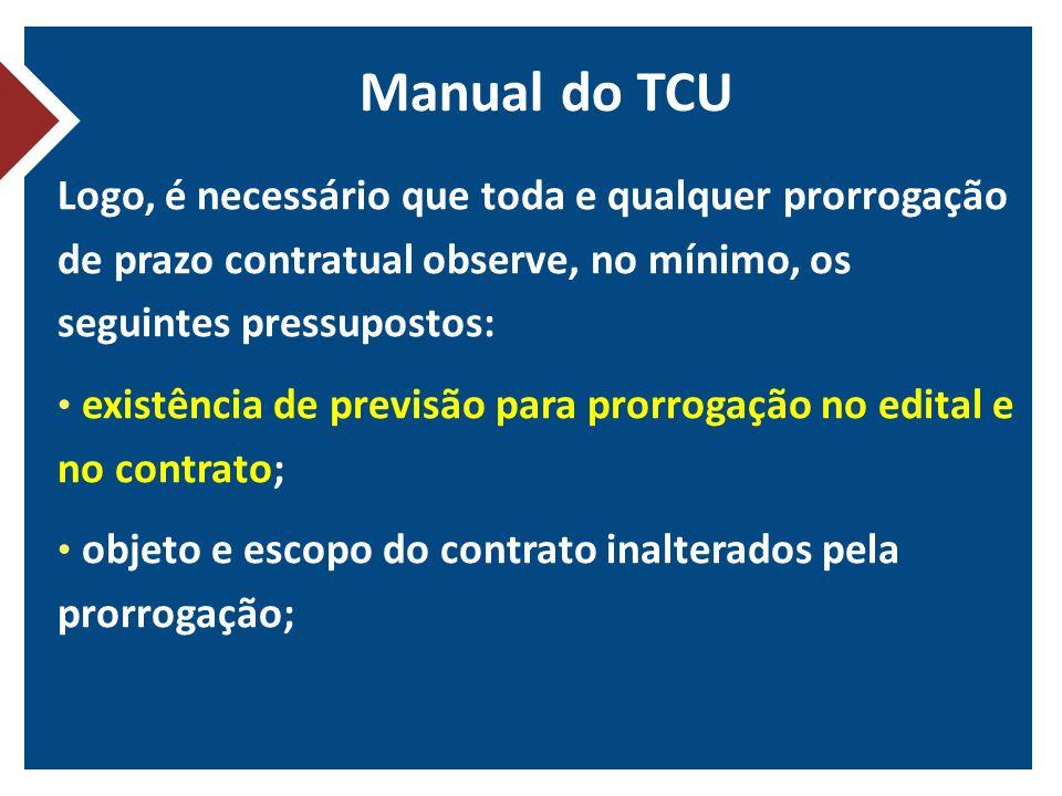 Manual do TCU Logo, é necessário que toda e qualquer prorrogação de prazo contratual observe, no mínimo, os seguintes pressupostos: