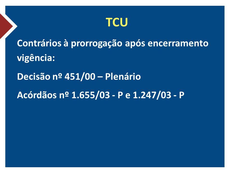 TCU Contrários à prorrogação após encerramento vigência: