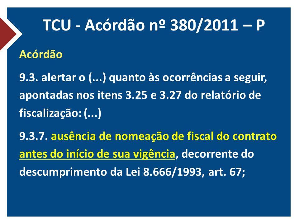 TCU - Acórdão nº 380/2011 – P