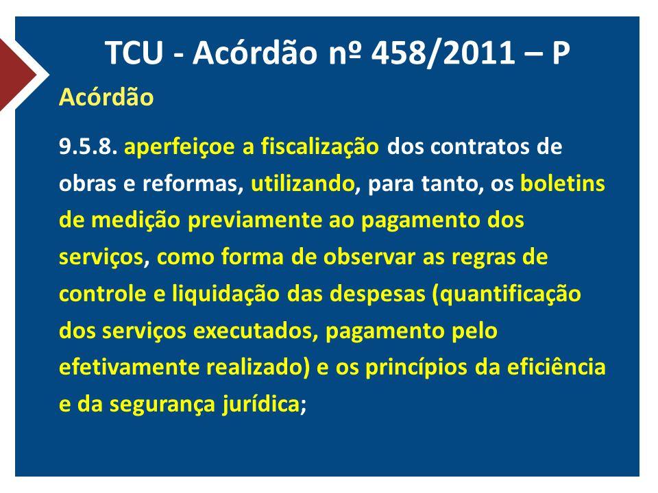TCU - Acórdão nº 458/2011 – P Acórdão