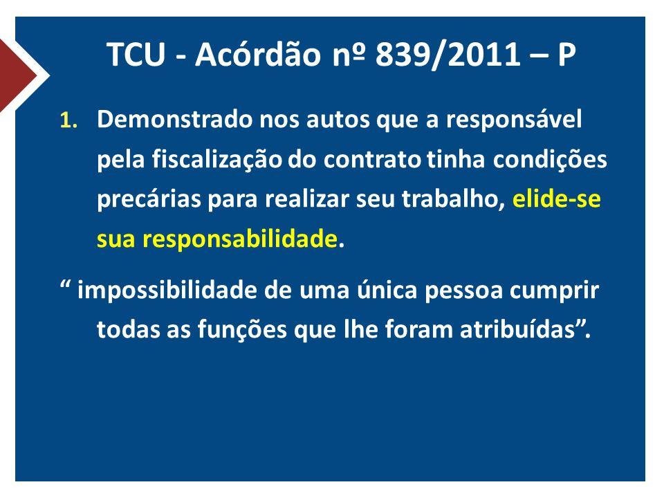 TCU - Acórdão nº 839/2011 – P
