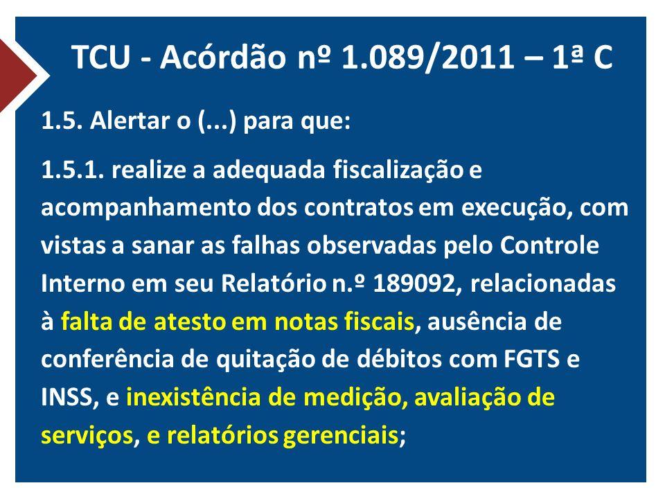 TCU - Acórdão nº 1.089/2011 – 1ª C