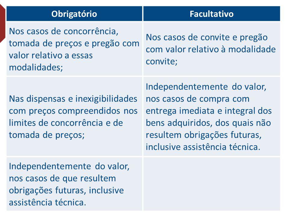 Nos casos de convite e pregão com valor relativo à modalidade convite;