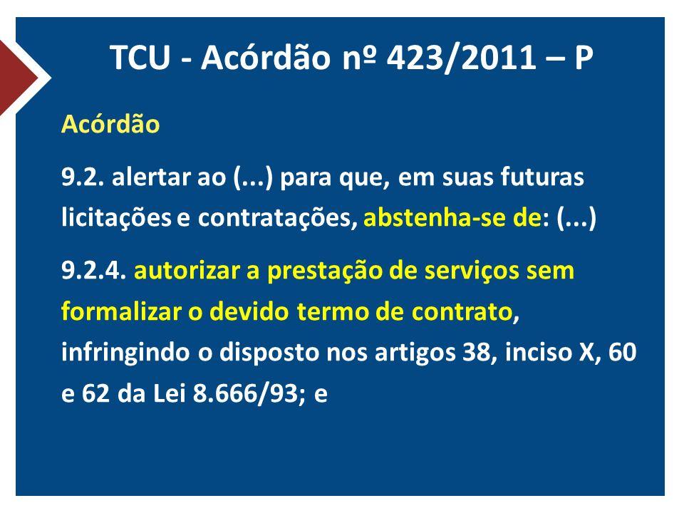TCU - Acórdão nº 423/2011 – P