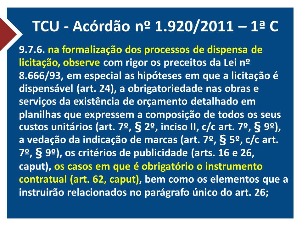 TCU - Acórdão nº 1.920/2011 – 1ª C