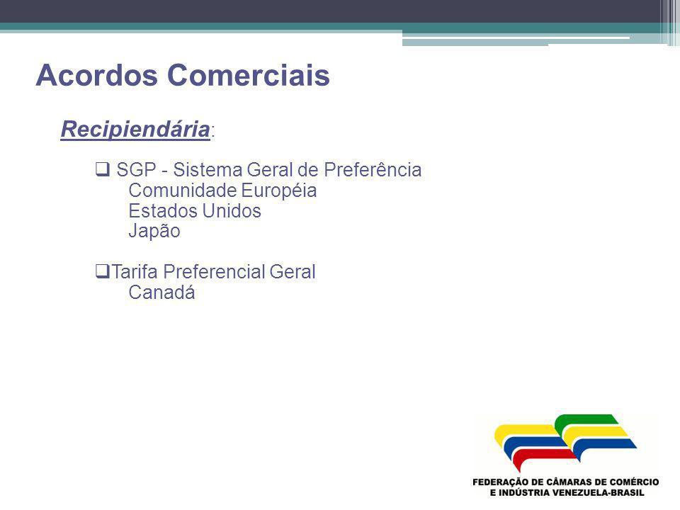 Acordos Comerciais Recipiendária: SGP - Sistema Geral de Preferência