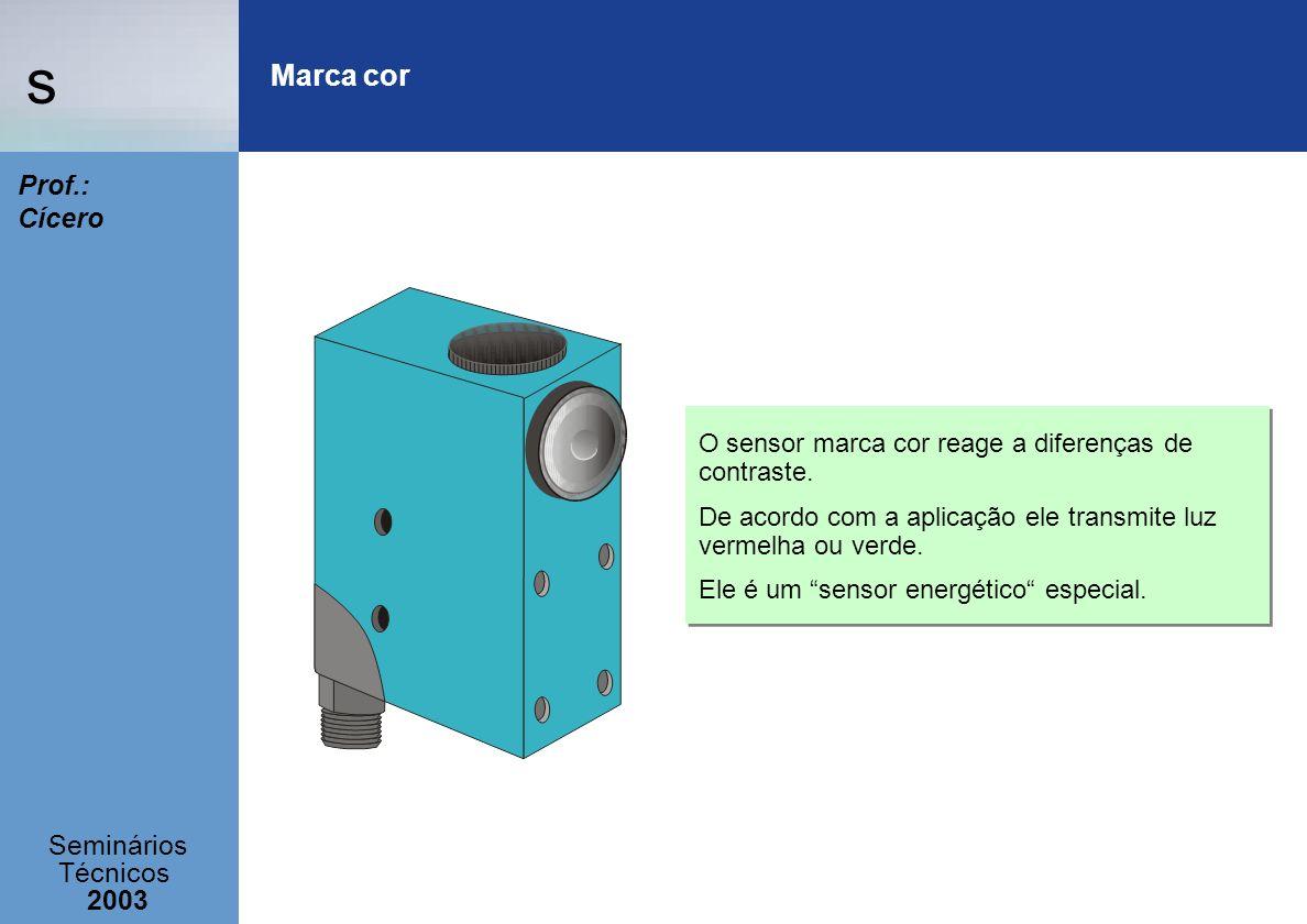 Marca cor O sensor marca cor reage a diferenças de contraste.