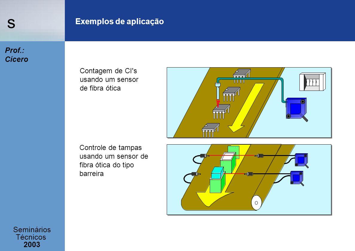Exemplos de aplicação Contagem de CI s usando um sensor de fibra ótica