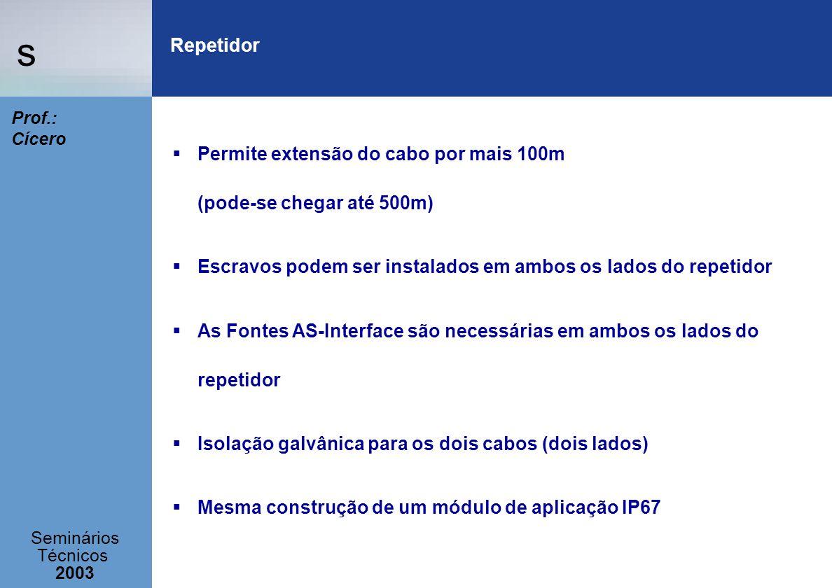 Repetidor Permite extensão do cabo por mais 100m (pode-se chegar até 500m) Escravos podem ser instalados em ambos os lados do repetidor.