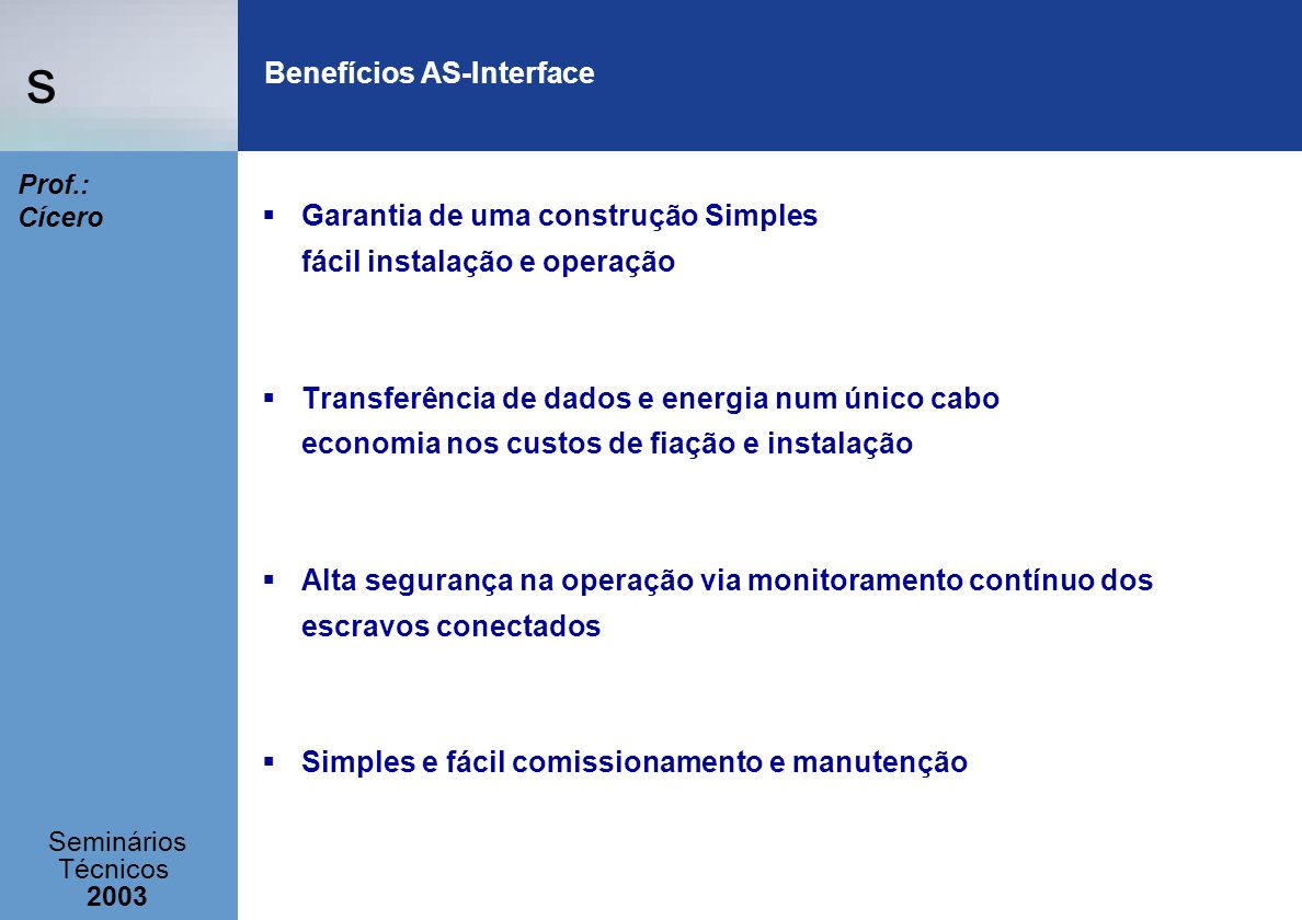 Benefícios AS-Interface